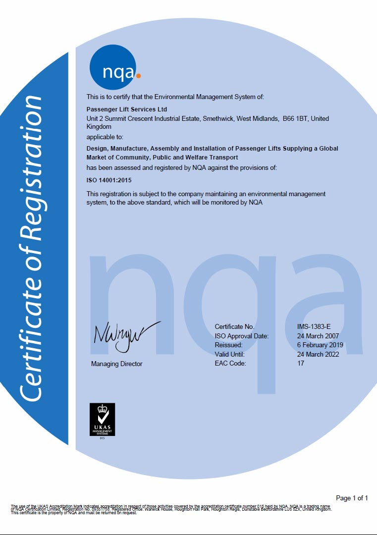 PLS Certification document ISO-14001